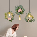 Single-Bulb Geometric Suspension Lighting Nordic Gold Metal Pendant with Rose and Leaf Decor