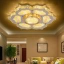 Silver Flower Flush Ceiling Light Modern Crystal LED Flush Mount Fixture for Living Room