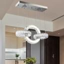 Chrome Loop Shaped Chandelier Pendant Minimalist Crystal LED Hanging Light for Dining Room