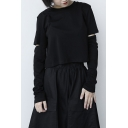 Fashion T-shirt Black Solid Color Cut Out Long Sleeve Crew Neck Relaxed Fit T Shirt for Girls