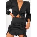 Popular Womens Dress Solid Color Blouson Sleeve Deep V-neck Drawstring Cut Out Mini Fit Dress