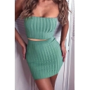 Edgy Looks Set Ribbed Strapless Fit Crop Tube & Mini Fitted Skirt Set in Green