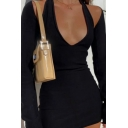 Pretty Womens Dress Solid Color Long Sleeve Halter Cut Out Mini Fitted Dress