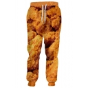 Men's Fashion Creative Fried Chicken 3D Printed Yellow Drawstring Waist Casual Sweatpants