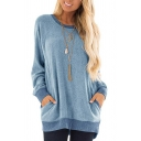 Popular Womens Sweatshirt Contrasted Long Sleeve Round Neck Relaxed Fit Pullover Sweatshirt