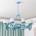 Pillar Candle Frosted Glass Chandelier Mediterranean Blue Hanging Light for Kids Bedroom