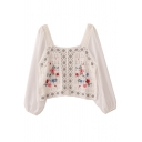 Womens Shirt Stylish Floral Embroidered Crochet Hollow out Chiffon Patchwork Relaxed Fit Long Sleeve Square Neck Pullover Shirt