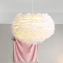 Goose Feather Dome Down Lighting Simplicity 1 Head Ceiling Pendant Light for Bedroom