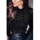 Sexy Womens Black Bodysuit Leopard Print See-through Mesh Long Sleeve Mock Neck Skinny Bodysuit