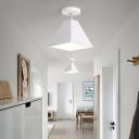 Pyramid Metal Semi Flush Light Nordic 1 Head Rotating Ceiling Light Fixture for Corridor