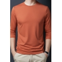 Leisure Guys Tee Top Solid Color Long Sleeve Crew Neck Relaxed Fit T Shirt