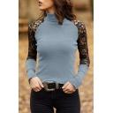 Chic Womens T-Shirt Rib Knit Lace Patchwork Slim Fit Long Sleeve Mock Neck Tee Shirt