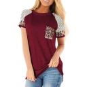 Leisure Womens T Shirt Stripe Leopard Print Short Sleeve Round Neck Loose T Shirt
