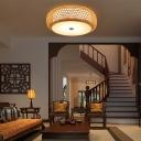 Beige Round Ceiling Flush Light Minimalist 1-Light Bamboo Flushmount Lighting for Living Room