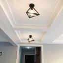 Single-Bulb Metal Ceiling Lamp Vintage Tetrahedron Cage Corridor Semi Flush Mount Light