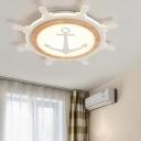 Mediterranean Ultrathin Flushmount Lighting Acrylic Child Bedroom LED Ceiling Light in Light Wood