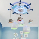 Metal Rudder Ceiling Lighting Kids 3-Light Semi Flush Light with Ship Deco and Dome Milk Glass Shade