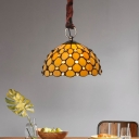 Jeweled Hanging Lamp Single-Bulb Beige Glass Traditional Pendant Light for Dining Room