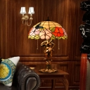 2 Lights Table Lamp Tiffany Dome Stained Art Glass Night Light with Pull Chain in Bronze