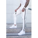 Men's Casual Zipper Fly Distressed Side Striped Denim Pants Skinny Jeans with Drawstringq