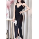 Elegant Ladies High Cut Spaghetti Straps Hollow out Back Maxi Sheath Special Occasion Cami Dress in Black