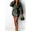 Fashionable Womens Jacket Solid Color PU Leather Tie-Waist Turn down Collar Single Breasted Slim Long Sleeve A-Line Mini Shirt Dress