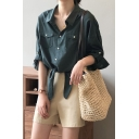 Simple Womens Shirt Solid Color Roll Up Sleeve Spread Collar Button Up Tied Hem Relaxed Shirt Top