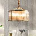 5-Light Drum Pendant Chandelier Traditional Gold Clear Ribbed Glass Hanging Lamp for Dining Room