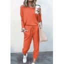 Basic Co-ord Womens Solid Color Long Sleeve Round Neck T-Shirt Loose Fitted Drawstring Waist Tapered Pants Set