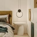 Loop Shaped Pendulum Light Minimalism Metal Bedside LED Pendant Lighting in Black