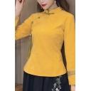 Vintage Ladies Shirt Flower Print Long Sleeve Mandarin Collar Frog Button Regular Fit Shirt Top