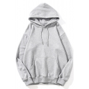 Trendy Guys Hoodie Solid Color Pouch Pocket Long Sleeve Relaxed Hoodie
