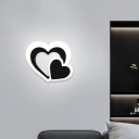 Black and White Heart Sconce Light Minimalist LED Acrylic Flush Mount Wall Light for Stairs