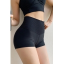 Womens Shorts Athletic Solid Color Mention Butt Tummy-Control Elastic High Waist Skinny Fit Yoga Shorts