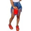 Womens Shorts Stylish Faded Wash Camouflage Fringe Hem Regular Fit Straight Shorts