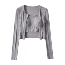 Fashionable Womens Two Pieces Button up Long Sleeve Scoop Neck Cardigan Cropped Slim Sleeveless Camisole Set