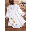 Women's Shirt Blouse Round Neck Long Sleeves Asymmetrical Hem Relaxed Fit Shirt