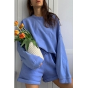 Trendy Womens Co-ords Plain Color Long Drop-Sleeve Round Neck Sweatshirt Drawstring Waist Rolled Cuffs Relaxed Fit Shorts Set