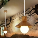 Wooden Conical Pendulum Light Simple Style Single White Pendant Lamp for Restaurant