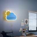 Sun and Cloud LED Sconce Lamp Cartoon Metal Child Room Wall Light with Pull Chain