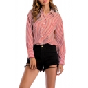 Trendy Womens Shirt Stripe Print Long Sleeve Spread Collar Button Up Relaxed Shirt Top in Red