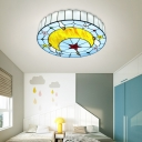 Mediterranean Round Flush Mount Lighting Tiffany Glass Ceiling Light with Moon Pattern in Blue