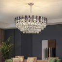 Round Tiered Suspension Pendant Lamp Minimalist Crystal Living Room Chandelier in Clear