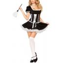 Womens Dress Trendy Lace-up Halloween Costume Mini Square Neck Slim Fit Short Sleeve Maid Uniform