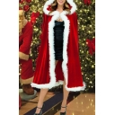 Novelty Womens Coat Little Red Riding Hood Fur-Trimmed Christmas Hooded Cape