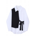 Trendy Womens Shirt Color Block Panel Button down Tie-Waist Long Sleeve Spread Collar Relaxed Fit Shirt