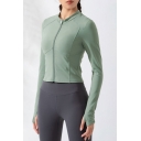 Gym Womens Jacket Plain Color Zipper up Quick Dry Long Sleeve Skinny Fit Stand Collar Yoga Jacket