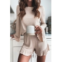 Trendy Ladies Co-ords Plain Knit Long Sleeve Crew Neck Stringy Selvedge Relaxed Tee Top & Shorts Set in Apricot