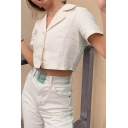 Chic Womens Shirt Plain Short Sleeve Notched Collar Button Up Regular Fit Shirt Top in White