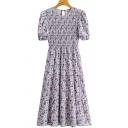 Leisure Womens Dress Ditsy Flower Short Sleeve Crew Neck Pintuck Mid A-line Dress in Purple